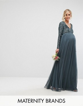 photo Plunge Front Long Sleeve Maxi Dress in Tonal Delicate Sequin and Tulle Skirt by Maya Maternity, color Petrol Blue - Image 1