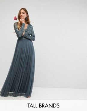 photo Plunge Front Long Sleeve Maxi Dress in Tonal Delicate Sequin and Tulle Skirt by Maya Tall, color Petrol Blue - Image 1