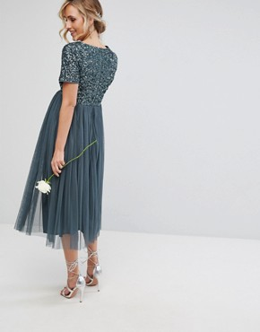 photo Cap Sleeve Midi Dress in Tonal Delicate Sequin with Tulle Skirt by Maya Maternity, color Petrol Blue - Image 2