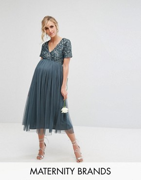 photo Cap Sleeve Midi Dress in Tonal Delicate Sequin with Tulle Skirt by Maya Maternity, color Petrol Blue - Image 1