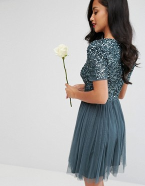 photo Cap Sleeve Mini Dress in Tonal Delicate Sequin with Tulle Skirt by Maya Petite, color Petrol Blue - Image 2