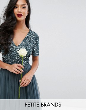 photo Cap Sleeve Mini Dress in Tonal Delicate Sequin with Tulle Skirt by Maya Petite, color Petrol Blue - Image 1