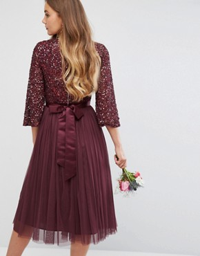 photo Bell Sleeve Midi Dress in Tonal Delicate Sequin with Tulle Skirt and Kimono Sleeve by Maya Tall, color Berry - Image 2