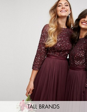 photo Bell Sleeve Midi Dress in Tonal Delicate Sequin with Tulle Skirt and Kimono Sleeve by Maya Tall, color Berry - Image 1