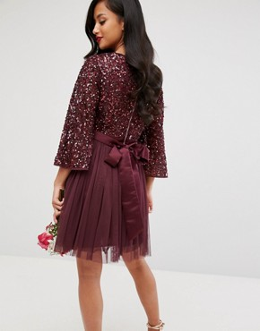 photo Bell Sleeve Mini Dress in Tonal Delicate Sequin with Tulle Skirt and Kimono Sleeve by Maya Petite, color Berry - Image 2