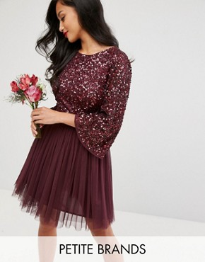 photo Bell Sleeve Mini Dress in Tonal Delicate Sequin with Tulle Skirt and Kimono Sleeve by Maya Petite, color Berry - Image 1