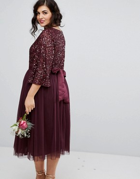 photo Bell Sleeve Midi Dress in Tonal Delicate Sequin with Tulle Skirt and Kimono Sleeve by Maya Plus, color Berry - Image 2