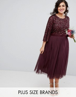 photo Bell Sleeve Midi Dress in Tonal Delicate Sequin with Tulle Skirt and Kimono Sleeve by Maya Plus, color Berry - Image 1