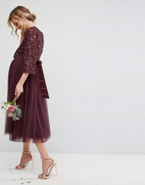 photo Bell Sleeve Midi Dress in Tonal Delicate Sequin with Tulle Skirt and Kimono Sleeve by Maya Maternity, color Berry - Image 2