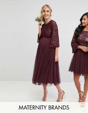 photo Bell Sleeve Midi Dress in Tonal Delicate Sequin with Tulle Skirt and Kimono Sleeve by Maya Maternity, color Berry - Image 1