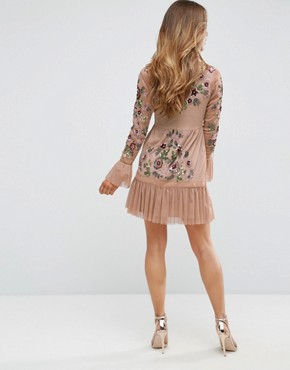 photo Allover Premium Embellished Fluted Hem Detail Skater Dress by Frock and Frill Petite, color Nude - Image 2