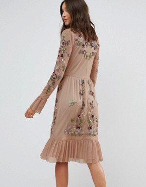 photo Allover Premium Embellished Fluted Hem Detail Skater Dress by Frock and Frill Tall, color Nude - Image 2