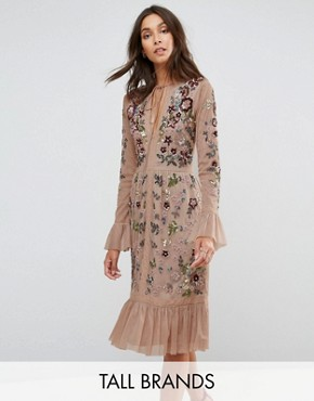 photo Allover Premium Embellished Fluted Hem Detail Skater Dress by Frock and Frill Tall, color Nude - Image 1