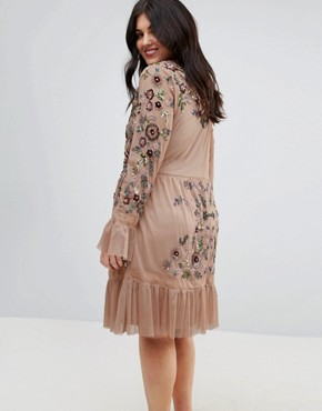 photo Allover Premium Embellished Fluted Hem Detail Skater Dress by Frock and Frill Plus, color Nude - Image 2