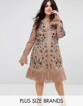 photo Allover Premium Embellished Fluted Hem Detail Skater Dress by Frock and Frill Plus, color Nude - Image 1