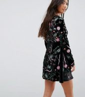 photo Allover Premium Embroidered Velvet Skater Dress by Frock and Frill Petite, color Black - Image 2