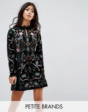 photo Allover Premium Embroidered Velvet Skater Dress by Frock and Frill Petite, color Black - Image 1