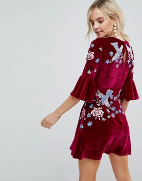 photo Allover Premium Embellished Velvet Skater Dress with Peplum Hem by Frock and Frill Petite, color Berry - Image 2