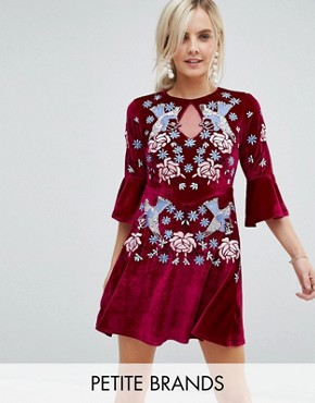 photo Allover Premium Embellished Velvet Skater Dress with Peplum Hem by Frock and Frill Petite, color Berry - Image 1