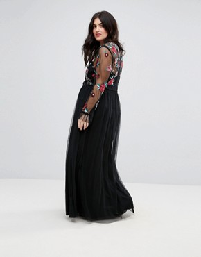 photo Premium Embroidered High Neck Long Sleeve Maxi Dress by Frock and Frill Plus, color Black - Image 2