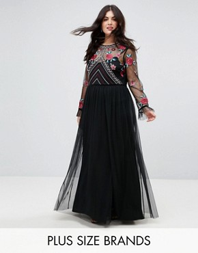 photo Premium Embroidered High Neck Long Sleeve Maxi Dress by Frock and Frill Plus, color Black - Image 1
