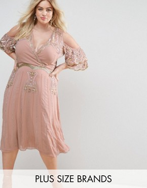 photo Premium Embellished Top Wrap Front Midi Dress with Cold Shoulder Detail by Frock and Frill Plus, color Nude - Image 1