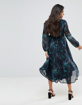 photo Printed Midi Dress with Lace Inserts by Hope & Ivy Maternity, color Multi - Image 2