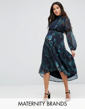 photo Printed Midi Dress with Lace Inserts by Hope & Ivy Maternity, color Multi - Image 1