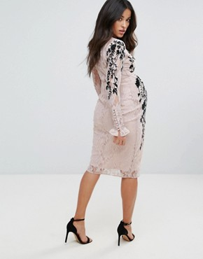 photo Long Sleeve Lace Dress with Embellished Detail by Hope & Ivy Maternity, color Nude - Image 2