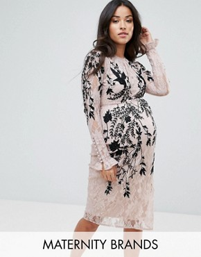 photo Long Sleeve Lace Dress with Embellished Detail by Hope & Ivy Maternity, color Nude - Image 1