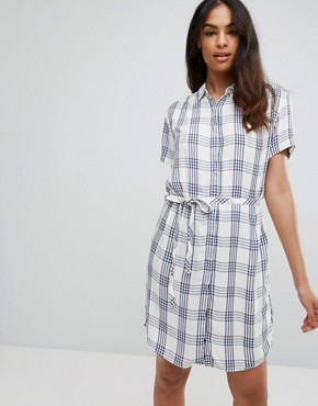photo Basic Check Shirt Dress by Tommy Hilfiger Denim, color Navy Peony/Egret - Image 1