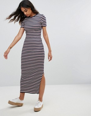 photo Striped Bodycon Midi Dress by Tommy Hilfiger Denim, color Dress Blues/Multi - Image 1