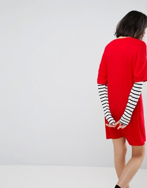 photo T-Shirt Dress with Stripe Sleeve by ASOS, color Multi - Image 2