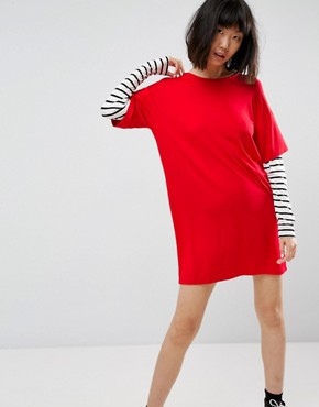 photo T-Shirt Dress with Stripe Sleeve by ASOS, color Multi - Image 1
