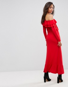 photo Salsa One Shoulder Maxi Dress by ASOS, color Red - Image 2