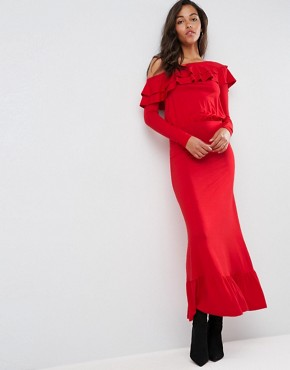 photo Salsa One Shoulder Maxi Dress by ASOS, color Red - Image 1