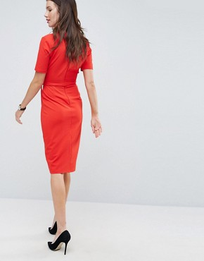 photo Midi Wrap Dress with Belt by ASOS, color Red - Image 2