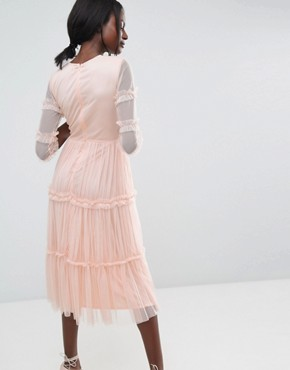 photo Tiered Sheer Tulle Midi Dress with 3/4 Sleeve by Lace & Beads, color Nude - Image 2