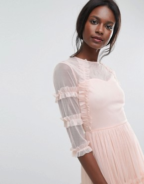 photo Tiered Sheer Tulle Midi Dress with 3/4 Sleeve by Lace & Beads, color Nude - Image 3