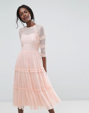 photo Tiered Sheer Tulle Midi Dress with 3/4 Sleeve by Lace & Beads, color Nude - Image 1
