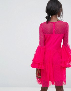 photo Dobbie Mesh Sheer Mini Dress with Exaggerated Sleeve by Lace & Beads, color Fuchsia - Image 2