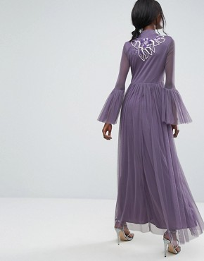 photo Premium Mesh Maxi Dress with Frill Details and Embroidery by Lace & Beads, color Grey - Image 2