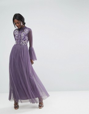 photo Premium Mesh Maxi Dress with Frill Details and Embroidery by Lace & Beads, color Grey - Image 1