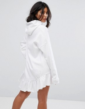 photo Oversized Hoodie Dress with Diamantes by The Ragged Priest, color White - Image 2