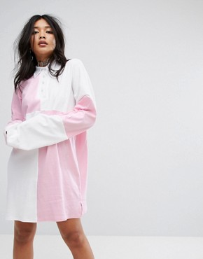 photo Oversized Rugby Shirt Dress with Back Print by The Ragged Priest, color Pink White - Image 2