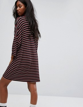 photo Oversized Save Your Breath T-Shirt Dress in Stripe by The Ragged Priest, color Black - Image 2