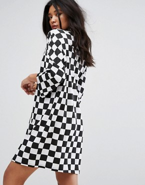 photo Free Your Mind Oversized T-Shirt Dress in Checkerboard by The Ragged Priest, color Black/White - Image 2