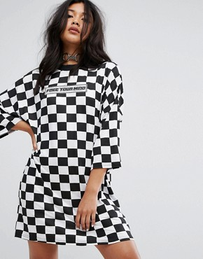 photo Free Your Mind Oversized T-Shirt Dress in Checkerboard by The Ragged Priest, color Black/White - Image 1
