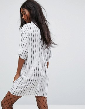 photo Not Sorry Shirt Dress by The Ragged Priest, color White - Image 2