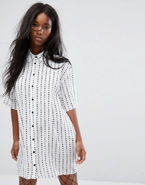 photo Not Sorry Shirt Dress by The Ragged Priest, color White - Image 1